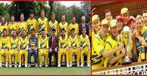 ...বিশ্ব চ্যাম্পিয়ন অষ্ট্রেলিয়া দল...ডানে উল্লাসরত ক্রিকেটাররা...